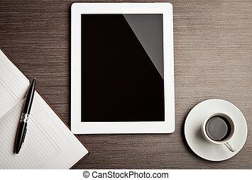 kávécserje, üres, tabletta, íróasztal