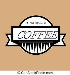 kávécserje, bélyeg, szüret, vektor, jel, vagy