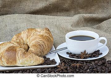 kávécserje, büfé, kontinentális, letesz asztal, reggeli, ...