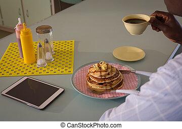 kávécserje, birtoklás, reggeli, ember