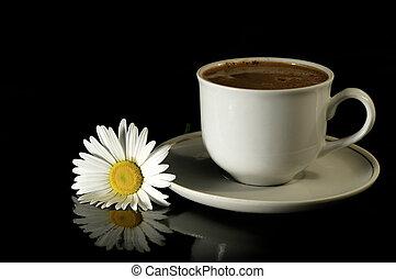 kávécserje, black háttér, csésze