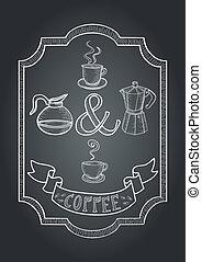 kávécserje, chalkboard, ábra