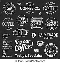 kávécserje, chalkboard, szöveg, és, jelkép