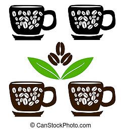 kávécserje csésze, bab, zöld