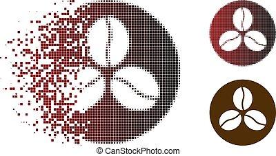 kávécserje, decomposed, halftone, bab, fénykép, ikon