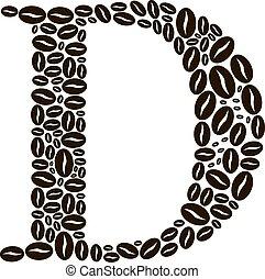 kávécserje, elkészített, állhatatos, átmérő, vektor, bab, levél