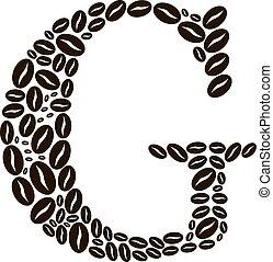 kávécserje, elkészített, állhatatos, g betű, vektor, bab, levél
