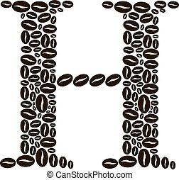 kávécserje, elkészített, állhatatos, h, vektor, bab, levél