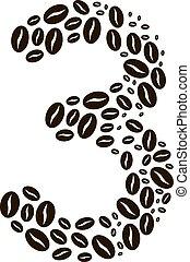 kávécserje, elkészített, állhatatos, szám 3, vektor, bab