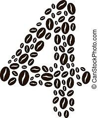 kávécserje, elkészített, állhatatos, szám, vektor, bab, 4