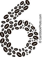 kávécserje, elkészített, állhatatos, szám, vektor, bab, 6
