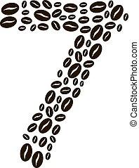kávécserje, elkészített, állhatatos, szám, vektor, bab, 7