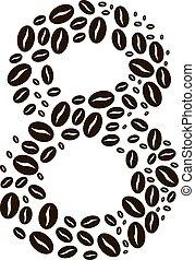 kávécserje, elkészített, állhatatos, szám, vektor, bab, 8