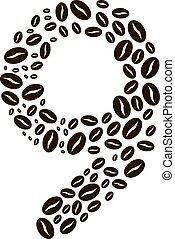 kávécserje, elkészített, állhatatos, szám, vektor, bab, 9