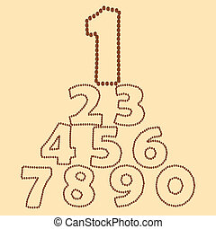 kávécserje, elkészített, bab, számok