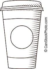 kávécserje, elszigetelt, ábra, csésze