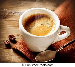 kávécserje, espresso., csésze kávécserje
