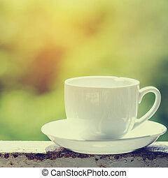 kávécserje, fehér, zöld, bokeh., csésze
