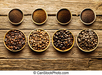kávécserje fej, előkészítő, sült, kifőz tervet, friss