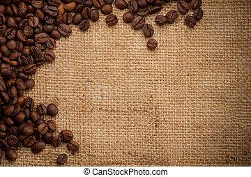 kávécserje fej, képben látható, zsákvászon, háttér