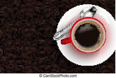 kávécserje fej, piros háttér, csésze