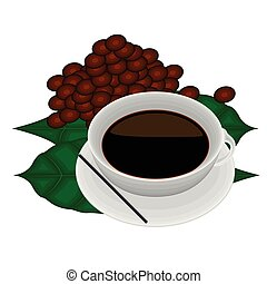 kávécserje fej, zöld, csésze