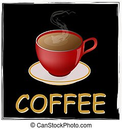 kávécserje, fogalom, csésze, gondolat, dohányzik, piros