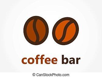 kávécserje gátol, bab, jel, vagy, ikon