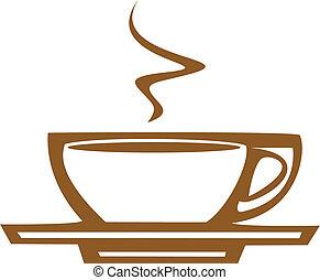 kávécserje, gőz, csésze