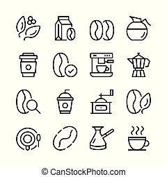 kávécserje, grafikus, áttekintés, ikonok, egyszerű, collection., set., modern, vektor, tervezés, fogalom, egyenes, alapismeretek