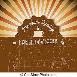 kávécserje, grunge, szüret, címke, vektor, retro, háttér