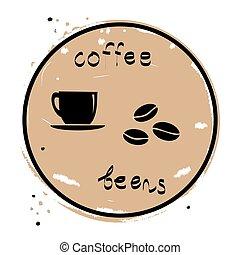 kávécserje, ikon, bab, csésze