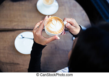 kávécserje, kézbesít, birtok, női, csésze