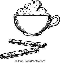 kávécserje, krém, hengermű, ostya, csésze