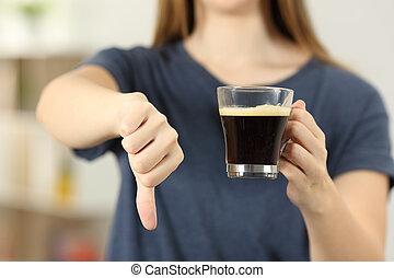kávécserje, nő, csésze, lefelé, lapozgat, hatalom kezezés