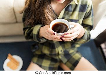 kávécserje, nő, midsection