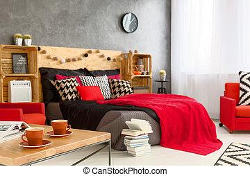 kávécserje, reggel, kényelmes, hálószoba