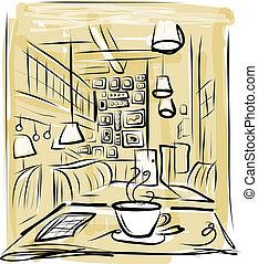 kávécserje, skicc, reggel, tervezés, kávéház, -e