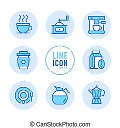 kávécserje, symbols., csésze, bolt, elements., ikonok, egyszerű, set., csésze, eldobható, modern, ütés, vektor, kávéház, bab, egyenes, grafikus, kerek, áttekintés