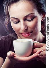 kávécserje, szépség, csésze, tea, leány, vagy