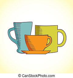 kávécserje, szín, három, elszigetelt, csészék, háttér, fehér
