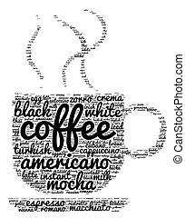 kávécserje, szó, felhő, fogalom