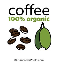 kávécserje, szerves, zöld, százalék, ábra, vektor, bab, háttér, 100, fehér