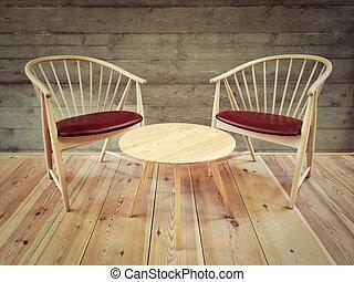 kávécserje, szoba, elnökké választ, modern, tervezés, asztal
