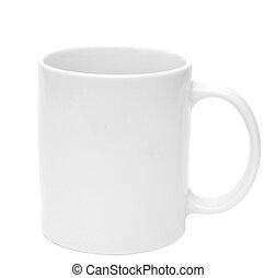 kávécserje, tea bögre, tiszta, fehér, vagy, üres