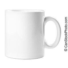 kávécserje, tea, elszigetelt, bögre, háttér, tiszta, fehér,...
