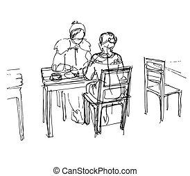 kávécserje, tea, két, asztal, ivás, kávéház, barátok