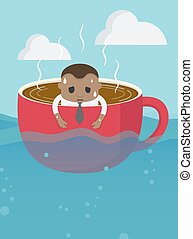 kávécserje, tenger, óriási, ügy, csésze, kifejezés, afrikai...