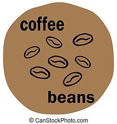 kávécserje, vectror, ábra, bab, beige háttér, ikon