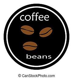 kávécserje, vectror, ábra, black háttér, bab, ikon